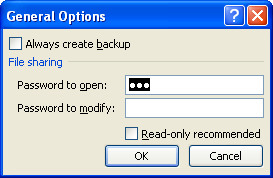 Type a password in the Password to open box or the Password to modify box.