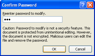 Type your password again.  Click OK.