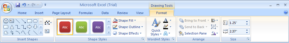 Select the shape. Click the Format tab under Drawing Tools.