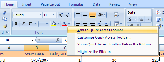 Add a Ribbon button or group to Quick Access Toolbar
