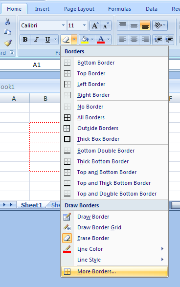 microsoft works how to create borders