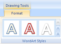 Click the WordArt. Click the Format tab under Drawing Tools. Click More list arrow in the WordArt Styles group to see additional styles.