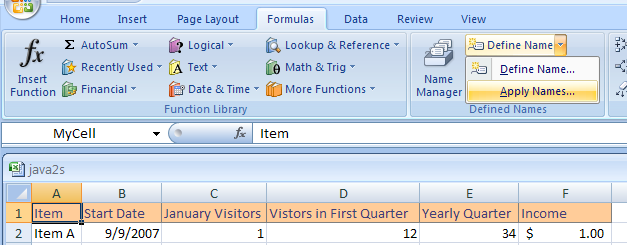 Click the Formulas tab. Click the Define Name button arrow, and then click Apply Names.