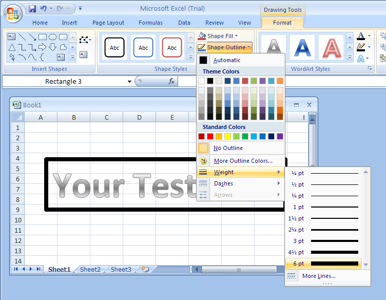 how to make text outline in word 2007