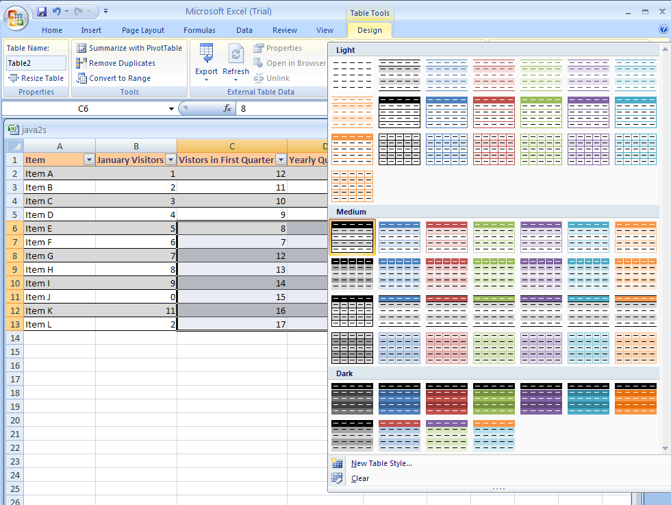 Excel apply a quick style to a table for Table design tab excel