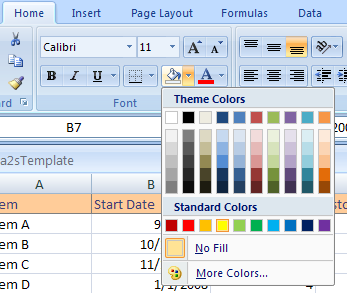 ... the Fill Color button arrow. Then click the color on the palette