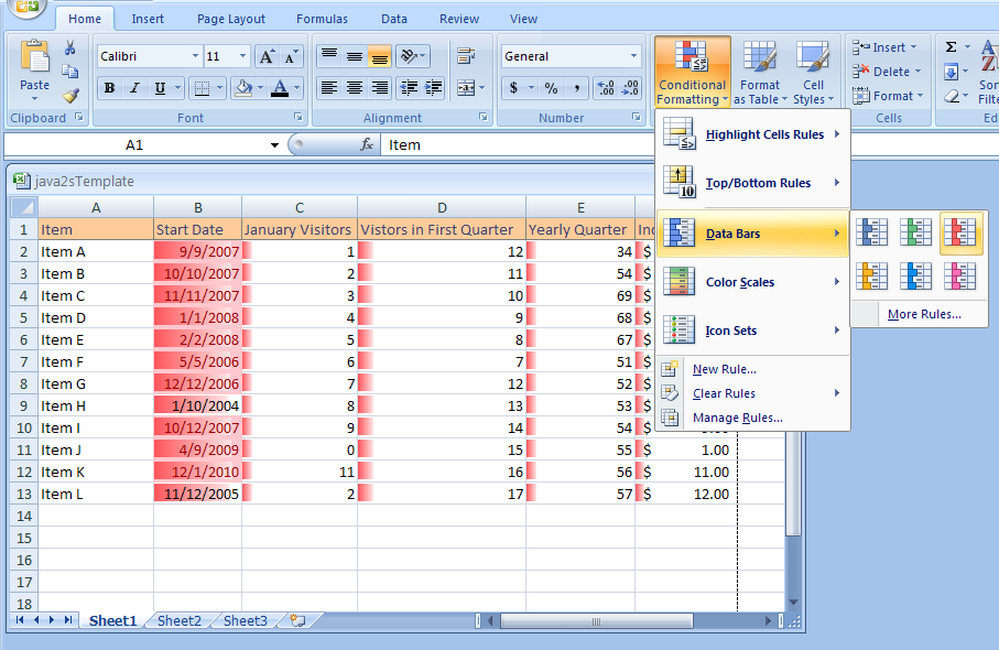 Applying Specialized Conditional Formatting Using Data Bars