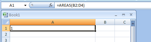 AREAS returns the number of areas in a reference