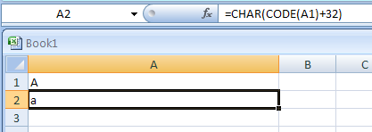 If cell A1 contains the letter A (uppercase). The following formula returns the letter a (lowercase):