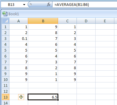 AVERAGEA(value1,value2,...) returns the average of its arguments, including numbers, text, and logical values