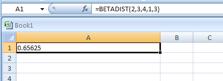 BETADIST(Value_between_A_and_B, Parameter_of_the_distribution, Parameter_of_the_distribution, Optional_lower_bound, Optional_upper_bound) returns the beta cumulative distribution function