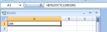 BIN2OCT(number, Number_of_characters_to_use) converts a binary number to octal