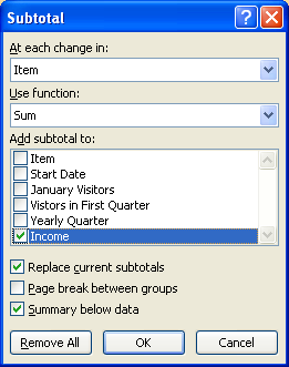 Select the appropriate check boxes to specify how the data is subtotaled. Click OK.
