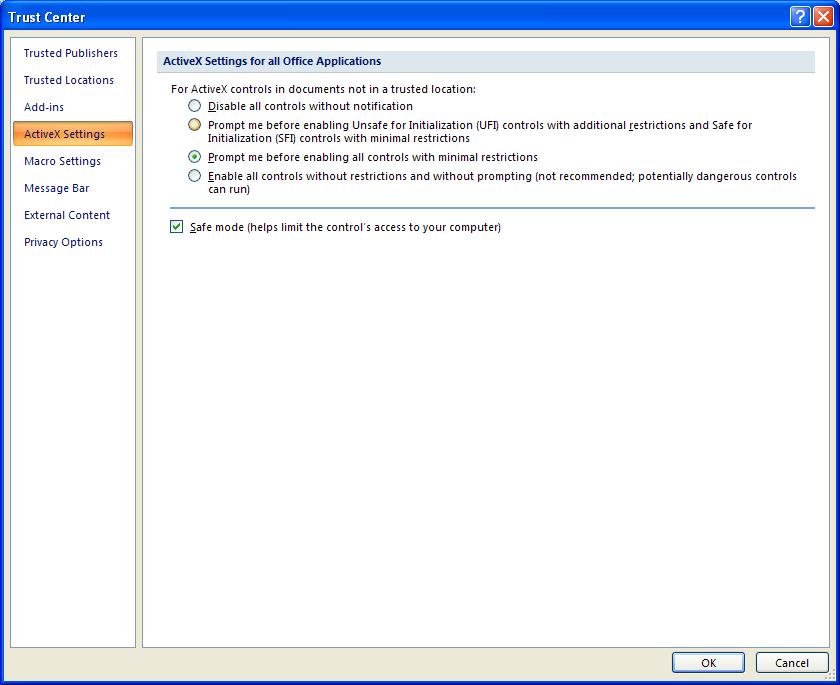 Change ActiveX Security Settings : ActiveX Control « Macro