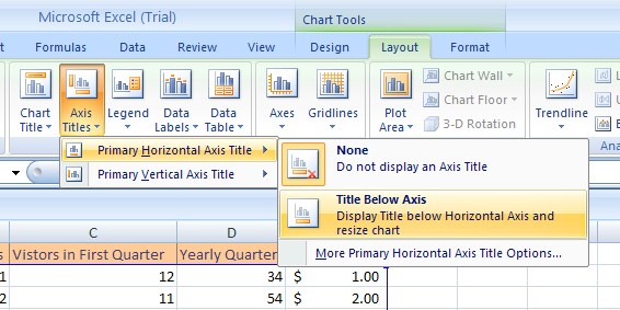 Point to Primary Horizontal Axis Title, and then click None to hide the axis title, or click Title Below Axis to display the title below the axis.
