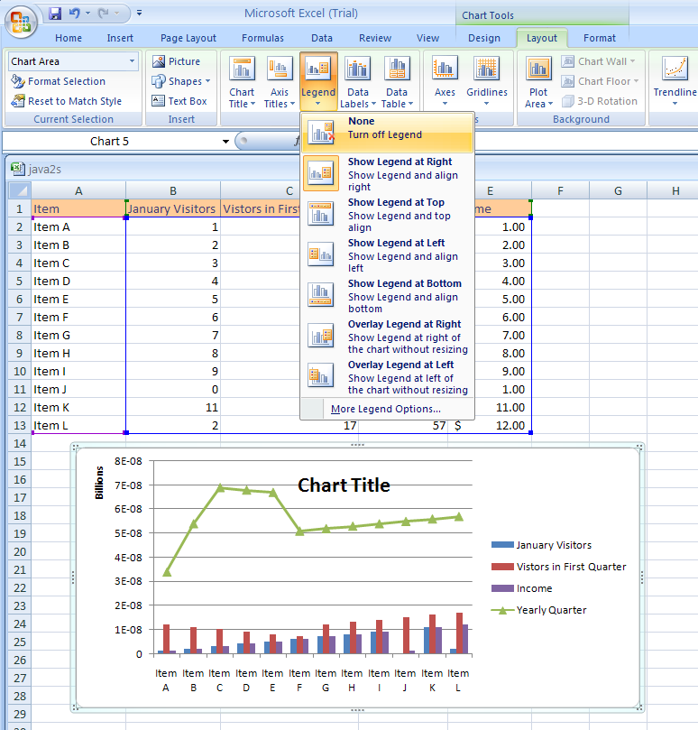 Excel change the chart legend select the chart click the layout tab under chart tools click the legend button ccuart Choice Image