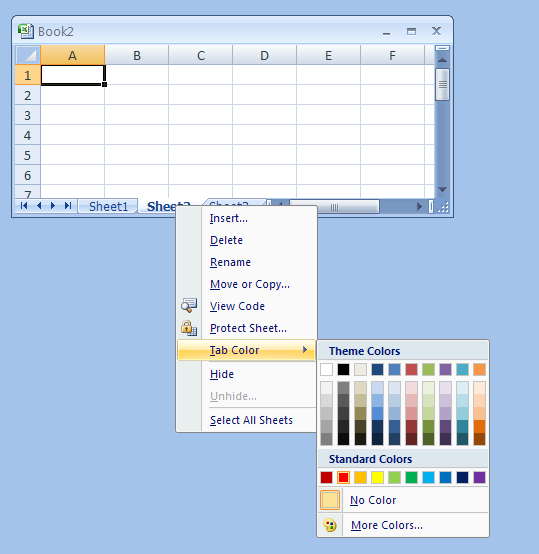 Right-clicking the sheet tab of the worksheet. Point to Tab Color