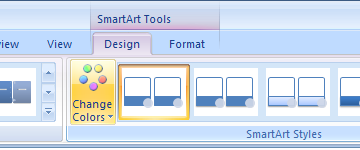Click the SmartArt graphic. Click the Design tab under SmartArt Tools. Click the Change Colors button.