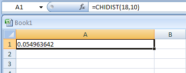 Input the formula: =CHIDIST(18,10)