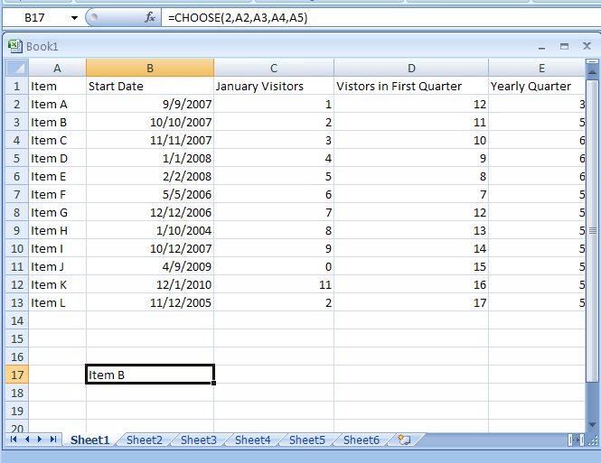 CHOOSE(index_num,value1,value2,...) chooses a value from a list of values