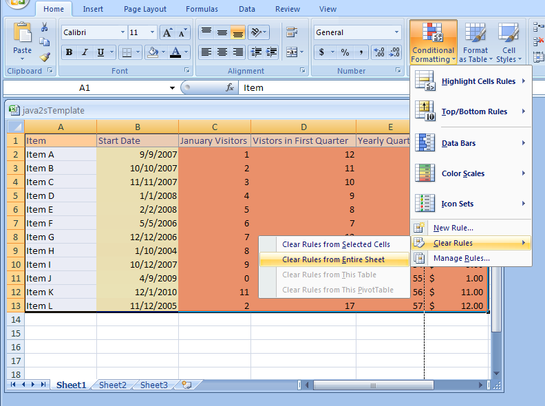Clear Conditional Formatting Rules