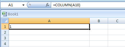 COLUMN(reference) returns the column number of a reference