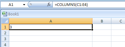 =COLUMNS(C1:E4) Number of columns in the reference