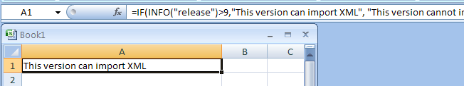 Combine IF and INFO formula to check the Excel version