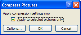 Select the Apply to selected pictures only to apply compression setting to only the selected picture. Or clear the check box to compress all pictures in your workbook.