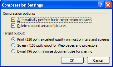 Select or clear the Delete cropped areas of pictures to reduce file.