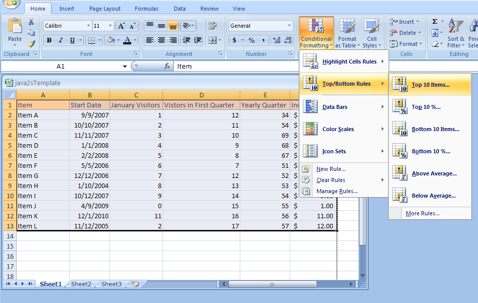 Conditional Formatting: Format Cell Contents Based on Ranking and Average