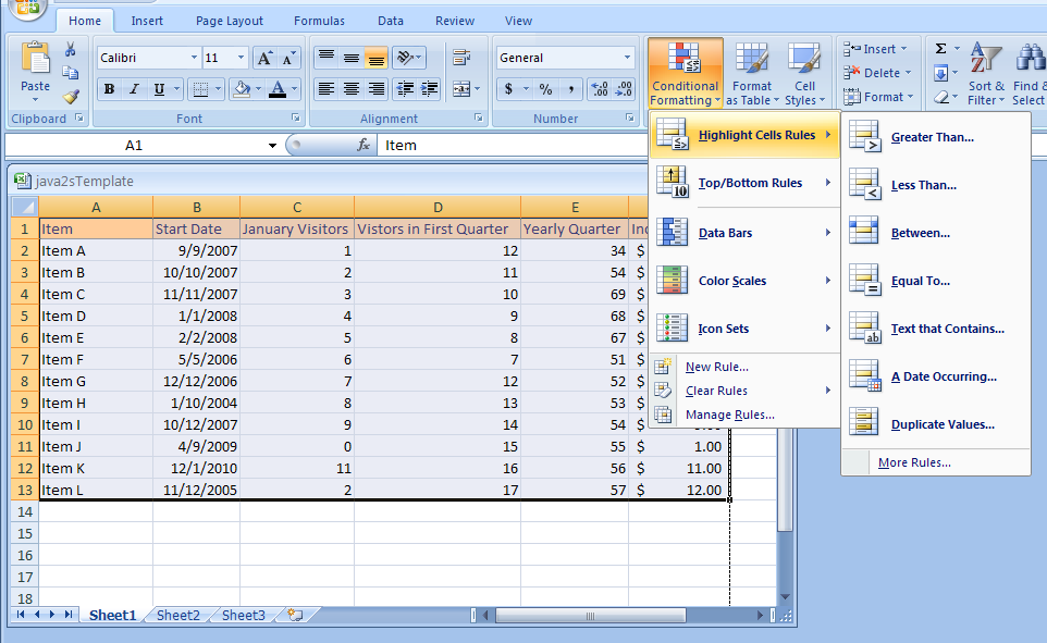 Conditional Formatting: Format Cell Contents Based on Comparison