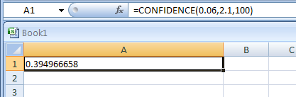 CONFIDENCE(alpha,standard_dev,size) returns the confidence interval for a population mean
