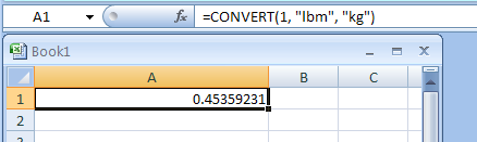 CONVERT(Value_in_from_units, From_unit, Units_for_the_result) converts a number from one measurement system to another