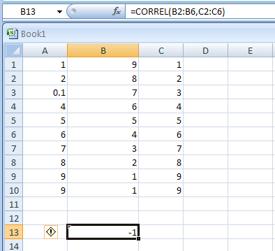 CORREL(array1,array2) returns the correlation coefficient between two data sets