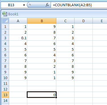 COUNTBLANK counts the number of blank cells within a range