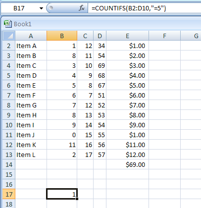 COUNTIFS(range1, criteria1,range2, criteria2...) counts the number of cells within a range that meet multiple criteria