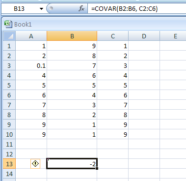 COVAR(array1,array2) returns covariance, the average of the products of paired deviations