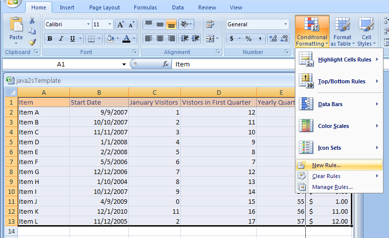 Create Conditional Formatting Rules