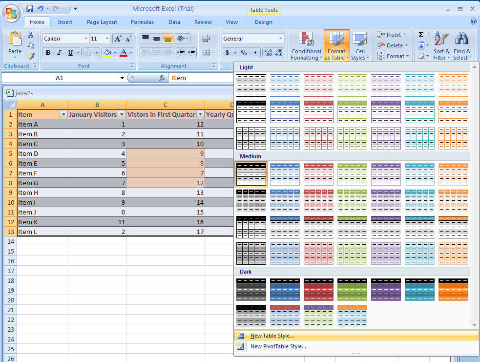 Create or modify a table style table format table for Excel table design