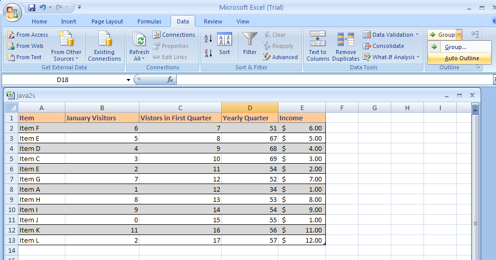 Ungroup outline data Outline Data Analysis Microsoft Office – Data Analysis Excel