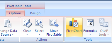 Click any data field in the PivotTable. Click the Options tab under PivotTable Tools. Click the PivotChart button.