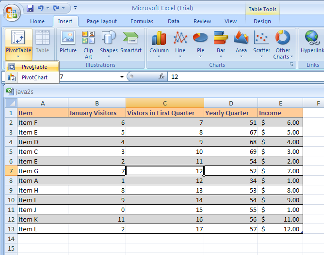 Create a PivotTable or PivotChart Report