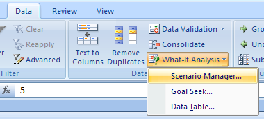 Create a Scenario Summary or PivotTable Report
