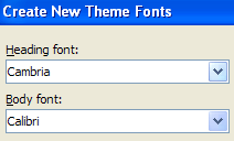 Click the Body font list arrow and then select a font.