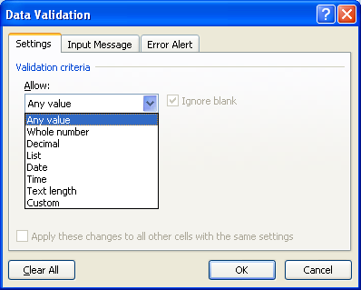 Click the Allow list arrow, and then select a value type.
