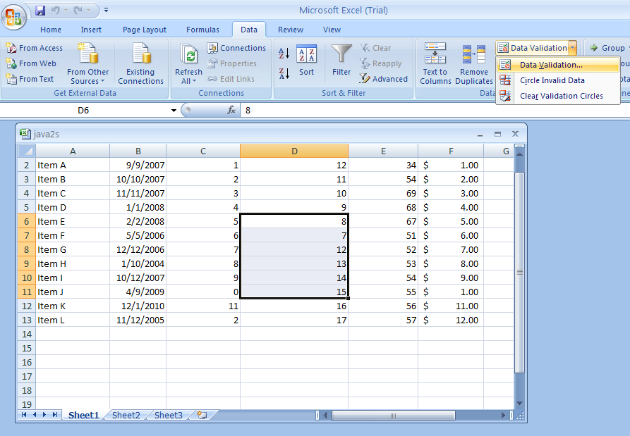 Excel validation macro
