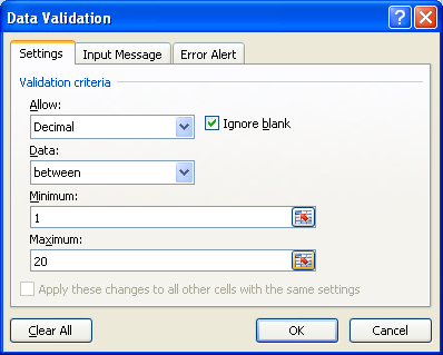 Enter values or use Collapse Dialog button to select a range for the minimum and maximum criteria.