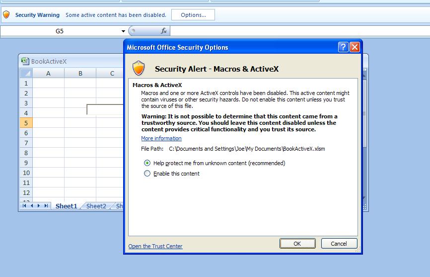 Deal with an ActiveX Control Security Alert : ActiveX