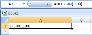 DEC2BIN(number, Number_of_characters_to_use) converts a decimal number to binary